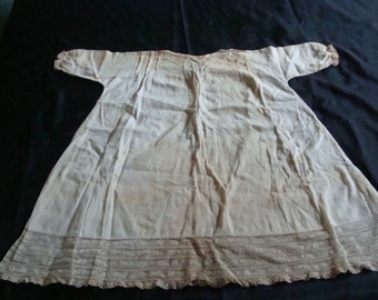 For the Shabby Little Princess ~ Antique Simple Christening Dress w/ French Lace