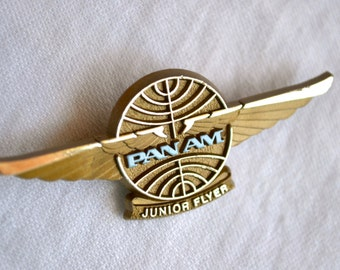 Vintage Pan AM Junior Flyer Wings Pin - Airlines Pin Back