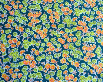 Vintage Fabric - Orange and Chartreuse Flowers on Dark Green - 44 x 54