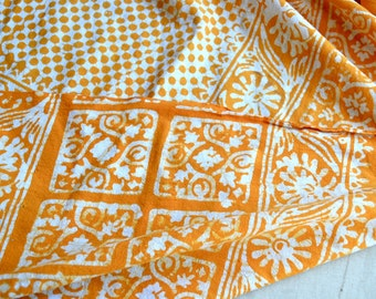 Vintage India Tablecloth Fabric - Orange Yellow and White Remnant - 32 x 104