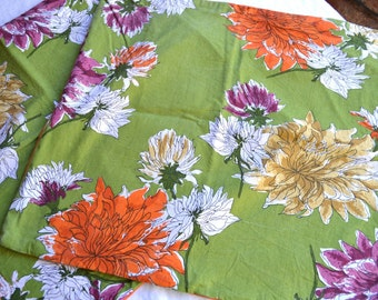 Vintage Vera Napkins and Pillows - Repurpose Fabric - Orange and Green Floral