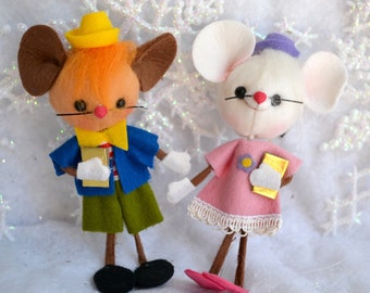Vintage Christmas Ornaments - Girl and Boy School Mice - Felt Mouse