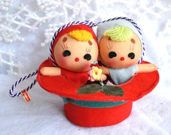 Vintage Christmas Ornament - Felt Pixies in Big Red Hat