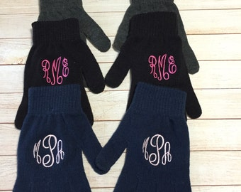 Ladies Monogrammed Touchscreen Friendly Texting Gloves Personalized Initial iphone Smart Phone Hand Gloves
