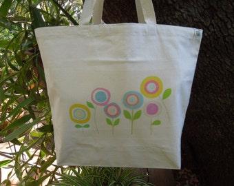 Natural cotton market tote - Large canvas bag  -   Reusable shopping bag - Sunflowers
