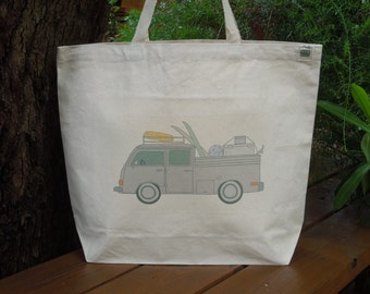 Natural cotton market tote - Large canvas bag - Reusable shopping bag - Gender neutral tote -  Old fashioned Volkswagen, going on vacation