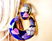 Vintage Cloisonné Royal Blue Gold Hoop Earrings Multi Color Pastels Flowers Stunning Art Deco Mod 80's Retro Estate Runway Statement