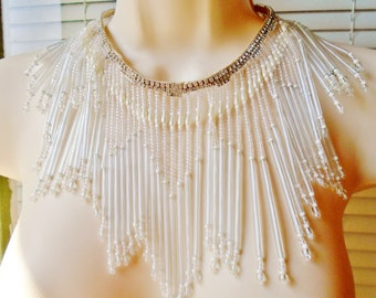 Vintage Antique Long Crystal Fringe Rhinestone An Pearls Bridal Necklace Waterfall Retro Estate Wedding Choker Collar Runway Statement