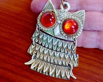 Vintage Owl Enamel Orange Sparkling Glass Eyes Articulated Multi Linked Body 1970's Hippie Retro Boho Retro Gold Cream Orange