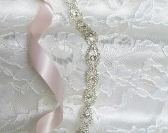 Silver Crystal Rhinestone Bridal Sash,Wedding sash,Belts And Sashes,Bridal Accessories,Bridal Belt and sashes,Ribbon Sash,Style #50