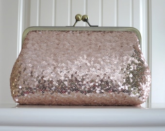 Rose Gold Blush Sequin Clutch,Wedding Accessories,Bridal Accessories,clutch purse,Wedding Clutch,Bridesmaid Clutch, Bridal Purse