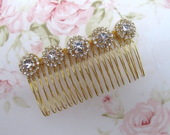 Gold Bridal Hair Comb,Rhinestone Wedding Hair Comb,Bridal Hair Accessories,Wedding Accessories,Decorative Hair Comb,#C27