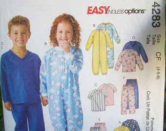 McCalls 4283, Easy endless options pattern, Childrens sleepwear,  Robe, Blanket pajamas, Summer PJs, Sizes 1 - 6