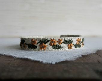 Mustard Floral Fall Cuff Bracelet