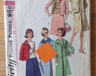 Vintage 1960s Simplicity 5880 Misses' Suit, Jacket, Skirt and Blouse - size 10