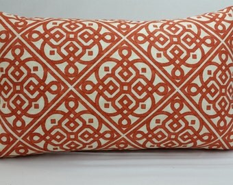"""Waverly lace it up toss pillow, 20 x 12"""" orange and ivory RTS"""