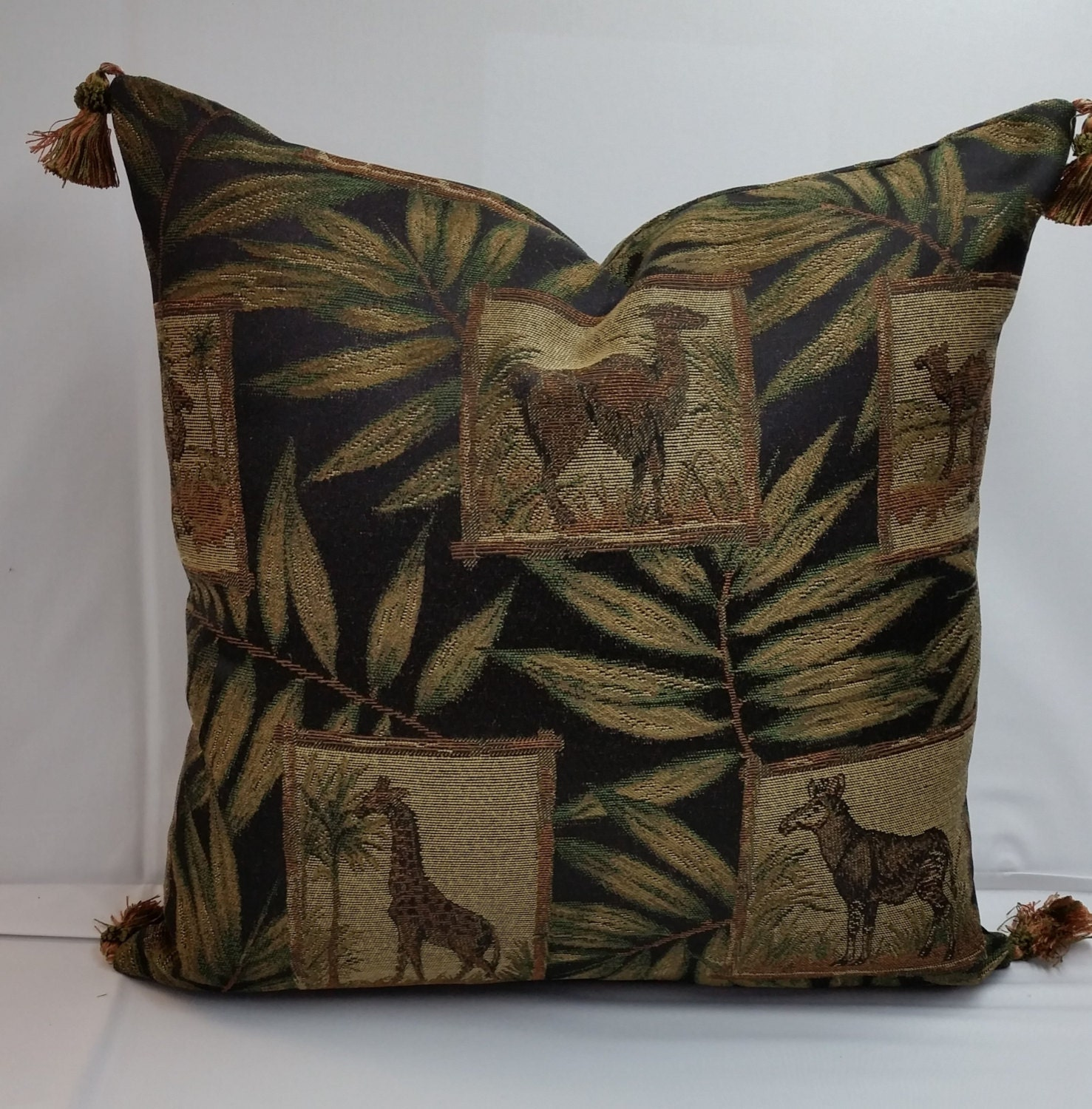 Throw Pillows With Tassels : Tapestry decorative pillow tassels 20 x 20 animals