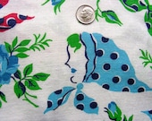 Vintage FEEDSACK Flour Sack  Fabric * Beautiful Ladies Faces with Polka Dots Scarves * 36 x 44