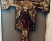 Vintage Folk Art Cross With Mary and Angels