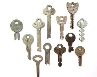 12 vintage keys, flat keys, key collection, key assortment, odd keys, steampunk keys, unique keys, artist supplies, numbers, old, no. 6
