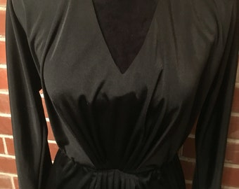 Black 1970s gathered waist disco dress