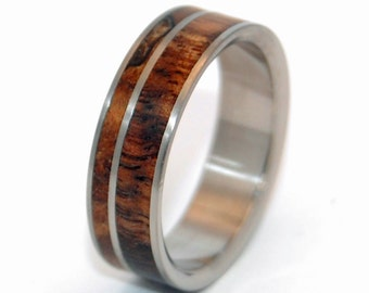 Titanium wedding rings, Wooden wedding rings, koa wood, maple wood, assymetrical design, custom made rings, hand made, COME TOGETHER