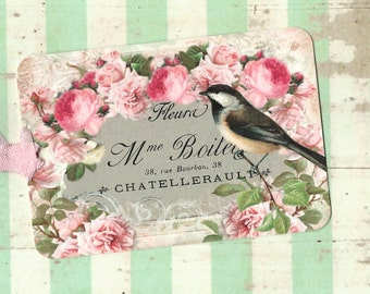 Gift Tags, Bird Tags, Bird Lover, Bird & Roses, Tags, Vintage Style