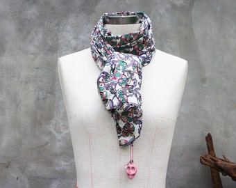 Spring floral scarf with large pink skull howlite charm