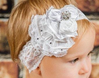 Infant Fabric Flower Rosettes Ruffles Headband, White Satin, Lace, Newborn Girl, photo prop, baby shower gift, First Christmas, Christening