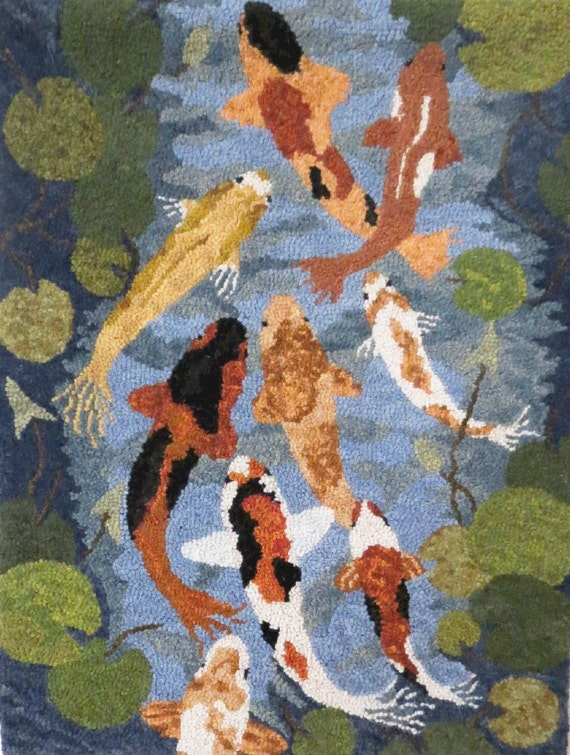 Hooked rug koi pond hooked rug wall hanging hand hooked rug for Koi wall hanging