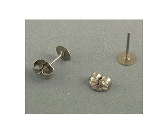 Titanium 5 mm Flat Pad Ear Posts / Earring Findings - 5 Pairs of Hypo Allergenic, No tarnish Earring Posts