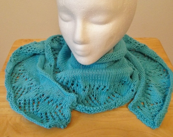 Shawl - Knitted Triangle Shawl with Lace Pattern Border in Turquoise