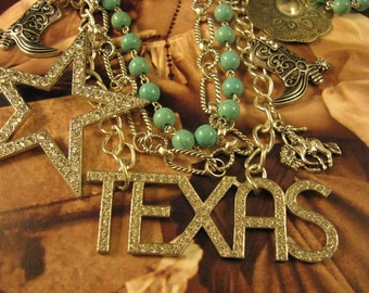 """SALE! Handmade Funky, Junky Assemblage Necklace """"Texas"""", Retro Rhinestone Brooches, Turquoise Rosary Chain, Concho, Unique, Statement, Gift"""