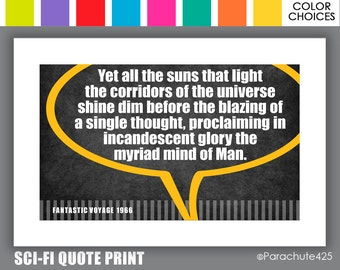 Fantastic Voyage, Sci Fi Quote, Sci Fi Gift, sci fi print, sci fi movie, science fiction, sci fi geek, dorm poster, man cave art, 60s sci fi