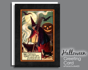 Halloween Card, Wicked Witch, Witch with Cauldron, Halloween quote, vintage Halloween, reproduction card, Halloween notecard, Halloween poem