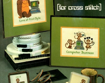 Computer Time Monkey PCs Desk Top Lap Top Banana Love First Byte Geek Nerd Humor Counted Cross Stitch Embroidery Craft Pattern Leaflet L-4