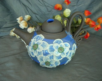 Ceramic Teapot in Sky Blue with Poppies on Black Mountain