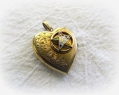 Vintage B & N Etched Floral Heart Locket with an Eastern Star 1/10th 14k Gold Filled