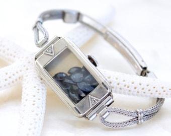 10kt White Gold Filled Sands of Time Shake Bracelet w/Deep Blue Sapphires Vintage Art Deco Ladies Wrist Watch Eco Friendly THE ORIGINAL