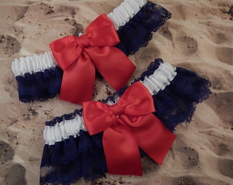 Red White Navy Blue Satin Navy Lace 4th of July Wedding Bridal Garter Toss Set