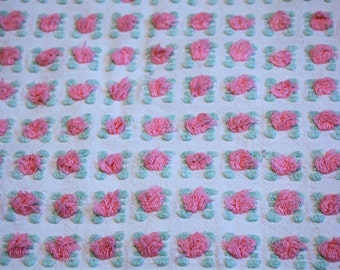 Pink Rosebud/Mint Green Leaves on White Fabric - 19 X 18 in