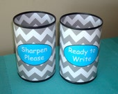 Gray Chevron Desk Accessories - Tin Can Pencil Holder with Labels Sharp Dull - Classroom Organization - Teacher Gift - Teacher Supplies  794