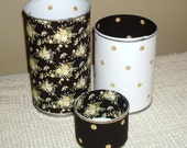RESERVED - Black and Gold Floral and Polka Dot Desk Accessory Set - 671