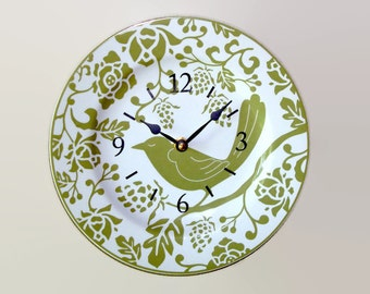 Olive Bird Wall Clock, White and Olive Wall Clock, Ceramic Plate Clock, Kitchen Clock, Floral Clock, Home Decor, Unique Wall Decor -  2070