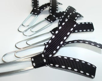 Black and White Grosgrain Ribbon Paperclips - Desk Accessories - Planner Clips - Office Accessories - Ribbon Paperclip Bookmark - PC026A