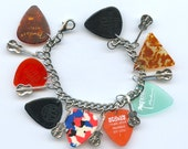 Guitar Pick Theme Charm Bracelet from recycled items With Guitar Charms & Vintage Picks