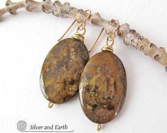 Bronzite Earrings, Brown Gemstone Earrings, Earthy Natural Stone Jewelry Handmade, Stone Drop Earrings, Fall Earrings, Golden Brown Earrings