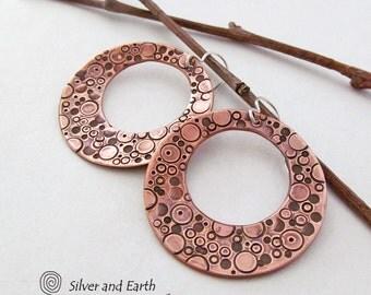 Copper Hoop Earrings, Hand Stamped Metal Jewelry, Open Circle Earrings, Artisan Metalwork Jewelry, Metal Dangle Earrings, Modern Jewelry
