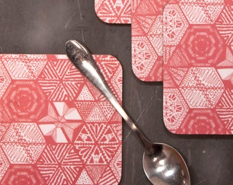 Hexie Doodle Coasters - Coral, hand drawn elements, doodle printed design, small tablemat, placemat, pink drink coaster