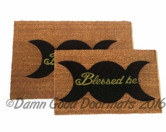 Wiccan Blessed be- samhain halloween doormat- clean house